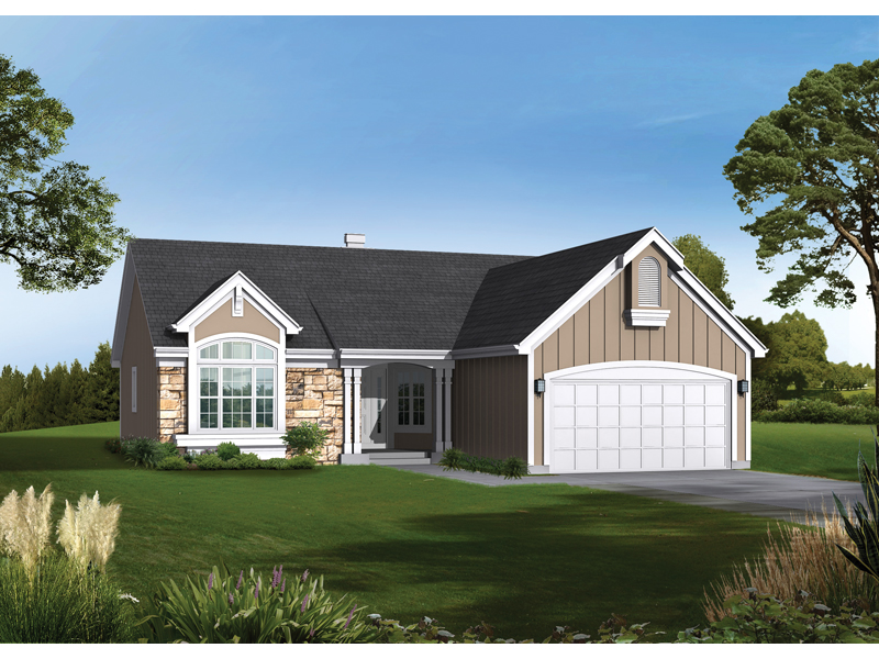 Ranch House Plan Front of Home 072D-0486