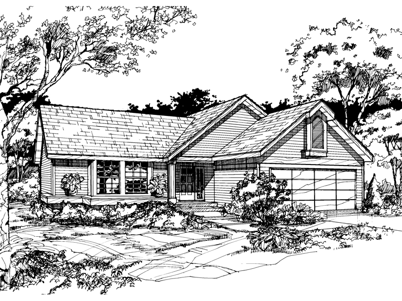 Ranch House Plan Front of Home - 072D-0496 | House Plans and More