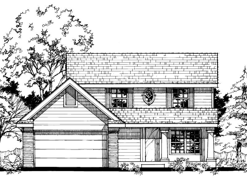 Colonial House Plan Front of Home - 072D-0497 | House Plans and More