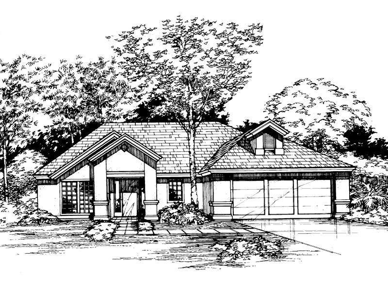 Adobe and Southwestern Plan Front of Home - 072D-0498 | House Plans and More