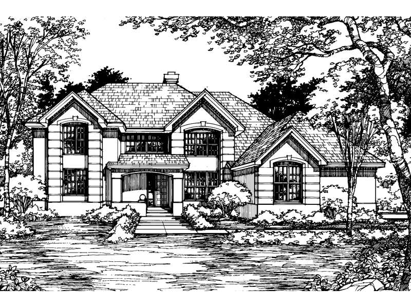 Adobe and Southwestern Plan Front of Home - 072D-0515 | House Plans and More