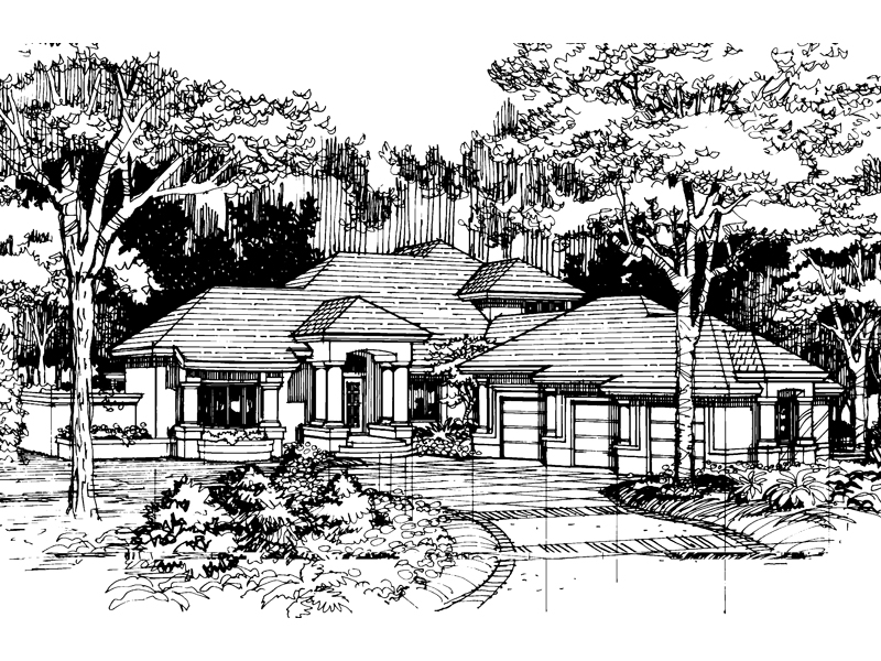 Sunbelt Home Plan Front of Home - 072D-0517 | House Plans and More