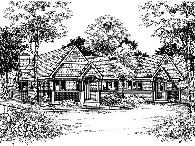 Ranch House Plan Front of Home - 072D-0518 | House Plans and More