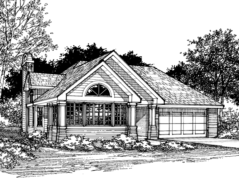 Ranch House Plan Front of Home - 072D-0519 | House Plans and More