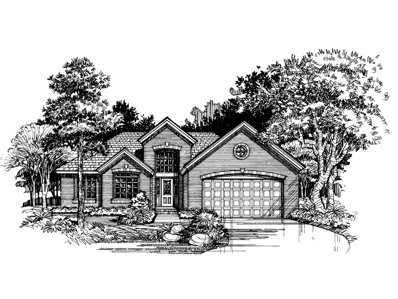 Ranch House Plan Front of Home - 072D-0520 | House Plans and More