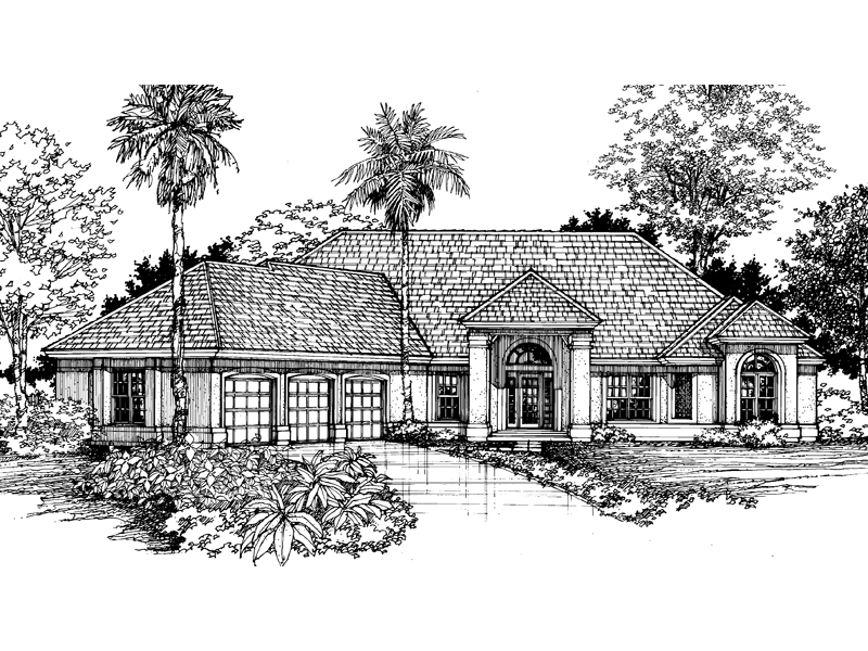 Adobe and Southwestern Plan Front of Home - 072D-0523 | House Plans and More