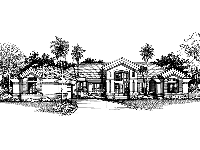 Santa Fe House Plan Front of Home - 072D-0524 | House Plans and More