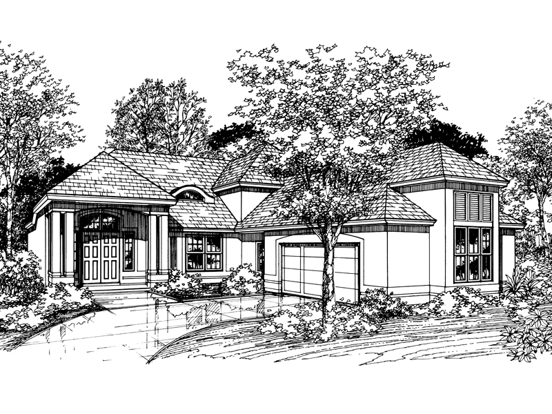 Adobe and Southwestern Plan Front of Home - 072D-0525 | House Plans and More