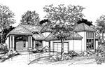 Sunbelt Home Plan Front of Home - 072D-0525 | House Plans and More