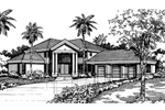 Adobe and Southwestern Plan Front of Home - 072D-0526 | House Plans and More
