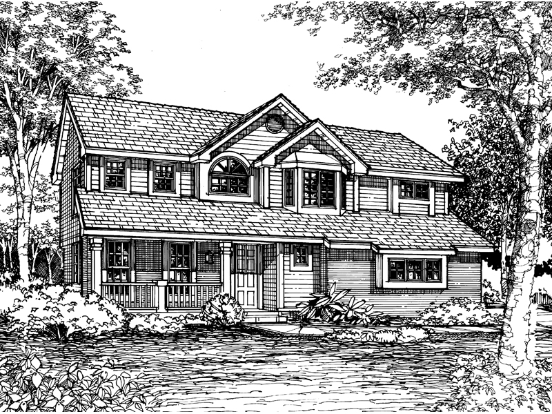 Traditional House Plan Front of Home - 072D-0583 | House Plans and More