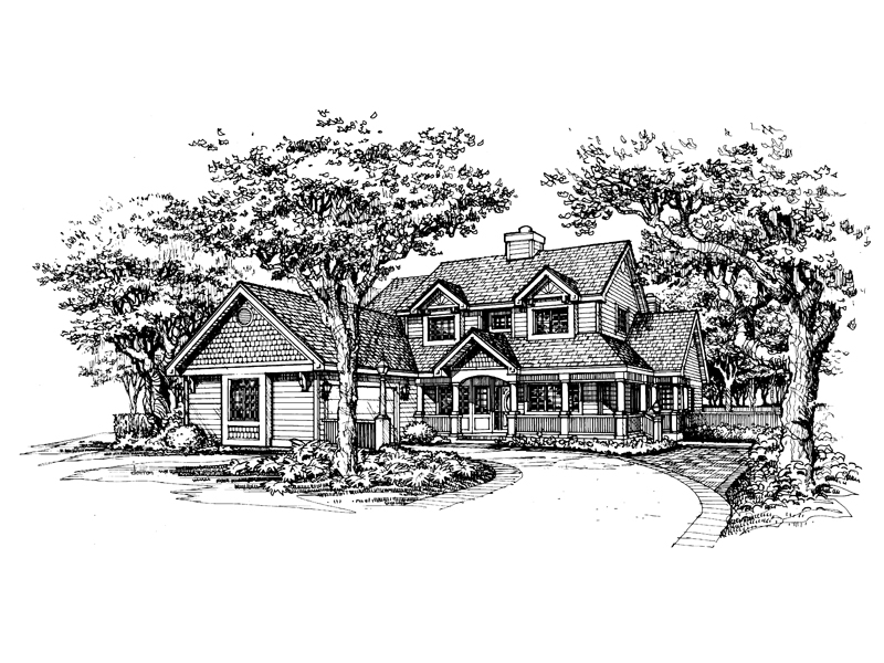 Farmhouse Plan Front of Home - 072D-0584 | House Plans and More