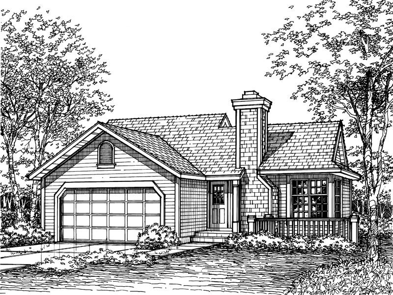 Ranch House Plan Front of Home - 072D-0586 | House Plans and More