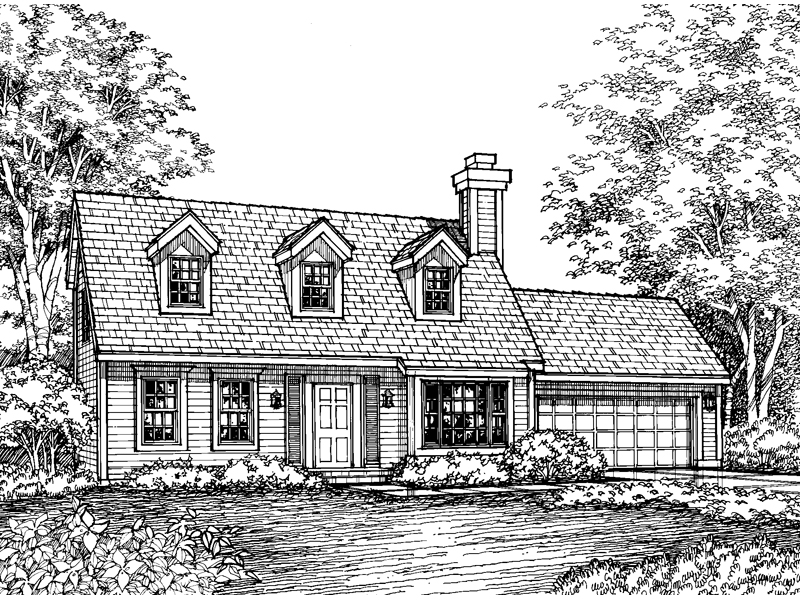 Cape Cod and New England Plan Front of Home - 072D-0587 | House Plans and More
