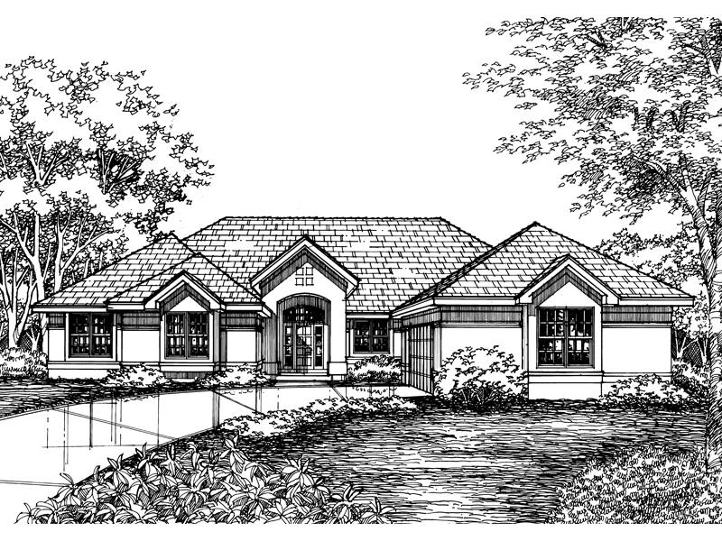Ranch House Plan Front of Home - 072D-0588 | House Plans and More