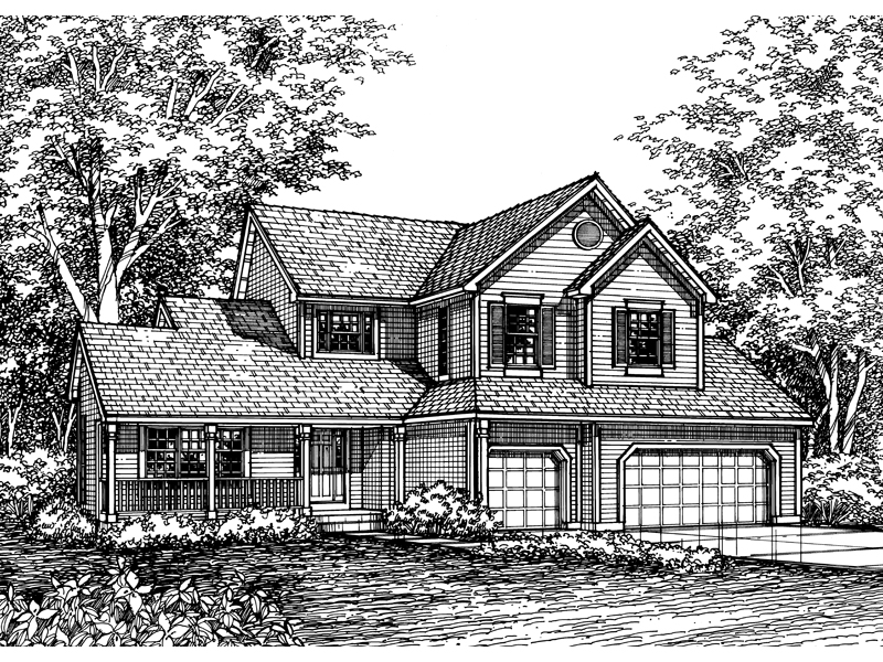 Colonial House Plan Front of Home - 072D-0590 | House Plans and More