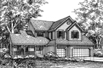 Farmhouse Plan Front of Home - 072D-0590 | House Plans and More