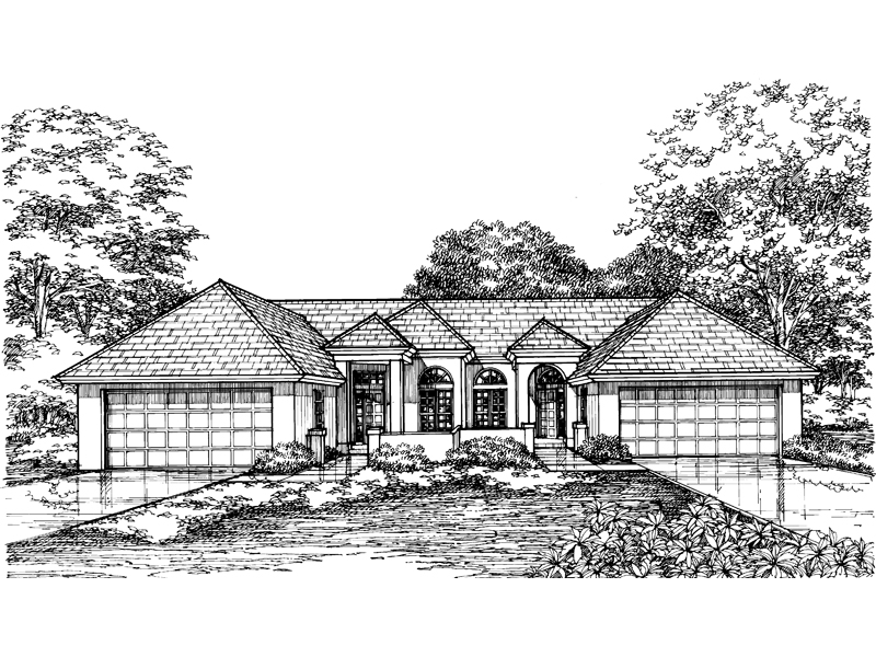 Southwestern House Plan Front of Home - 072D-0594 | House Plans and More