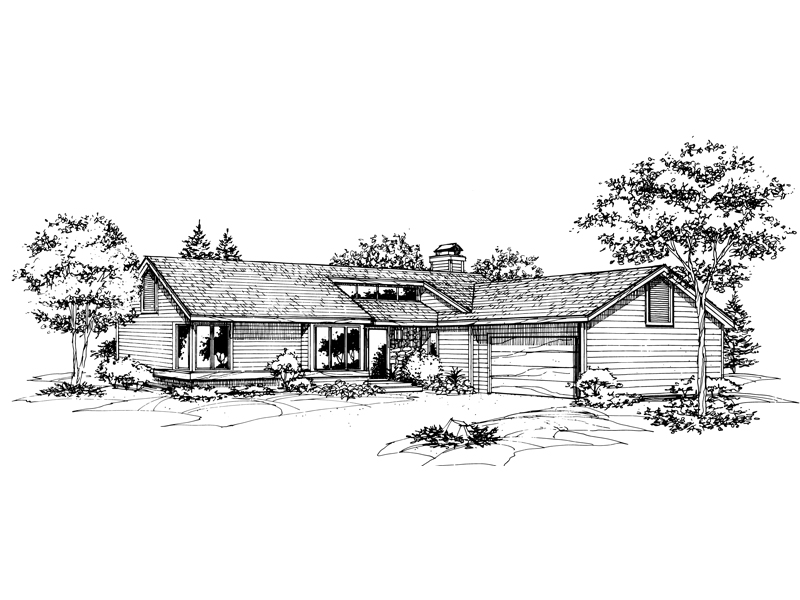 Ranch House Plan Front of Home - 072D-0595 | House Plans and More