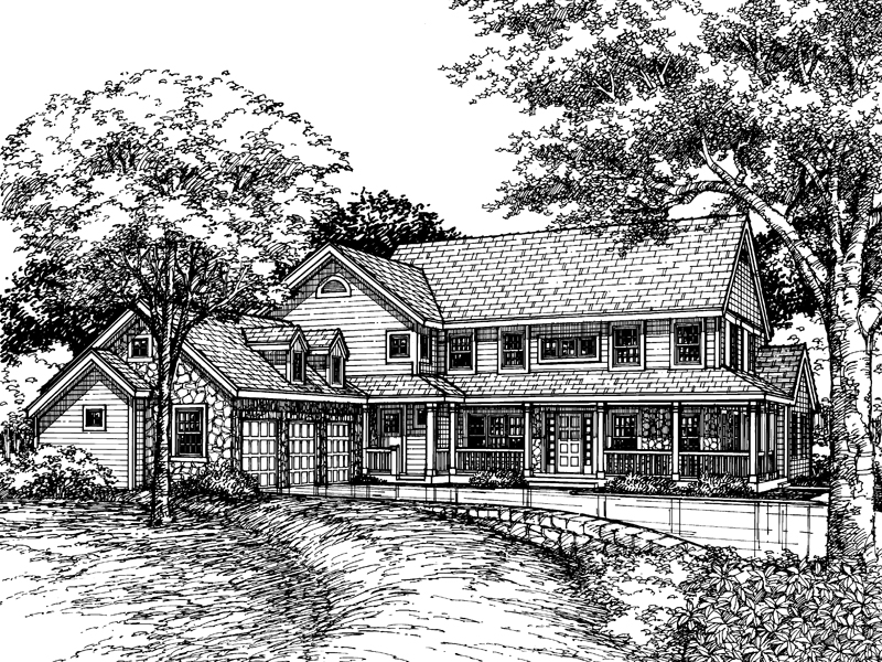 Farmhouse Plan Front of Home - 072D-0604 | House Plans and More
