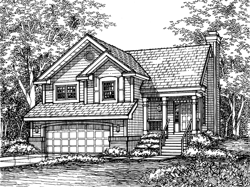 Traditional House Plan Front of Home - 072D-0608 | House Plans and More