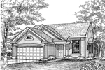 Ranch House Plan Front of Home - 072D-0609 | House Plans and More