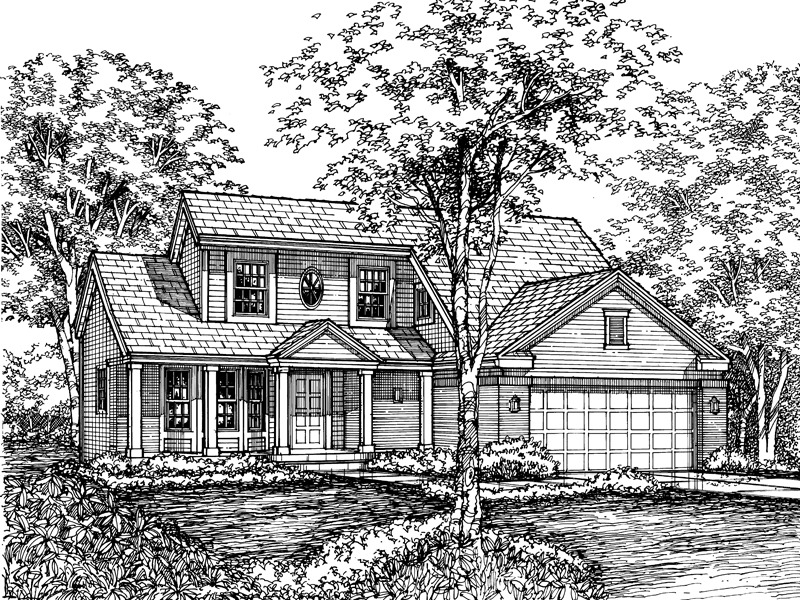 Farmhouse Plan Front of Home - 072D-0610 | House Plans and More