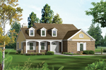 House Has Great Country Charm With Triple Dormers And Covered Front Porch