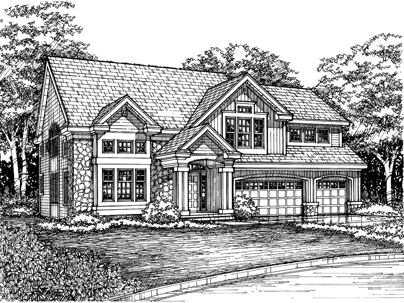 Traditional House Plan Front of Home - 072D-0614 | House Plans and More