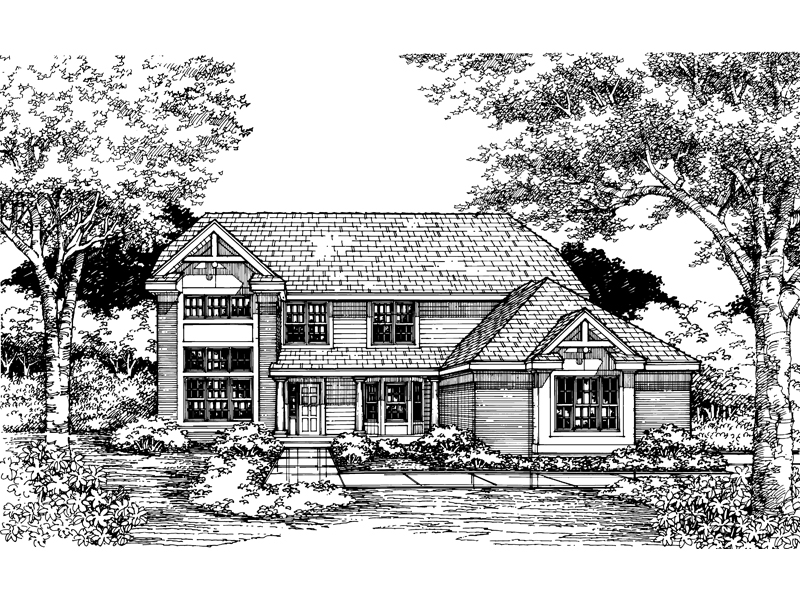 Farmhouse Plan Front of Home - 072D-0617 | House Plans and More