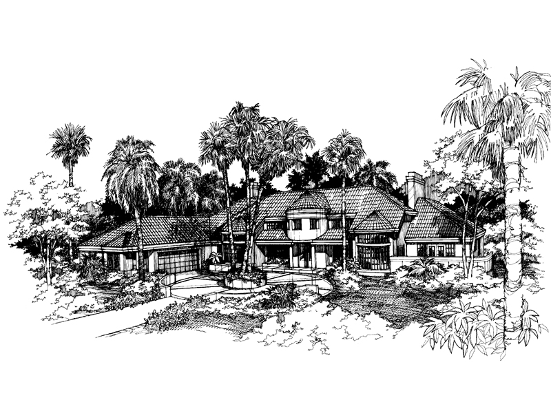 Florida House Plan Front of Home - 072D-0619 | House Plans and More