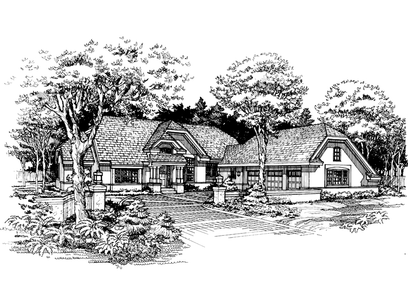 English Tudor House Plan Front of Home - 072D-0624 | House Plans and More