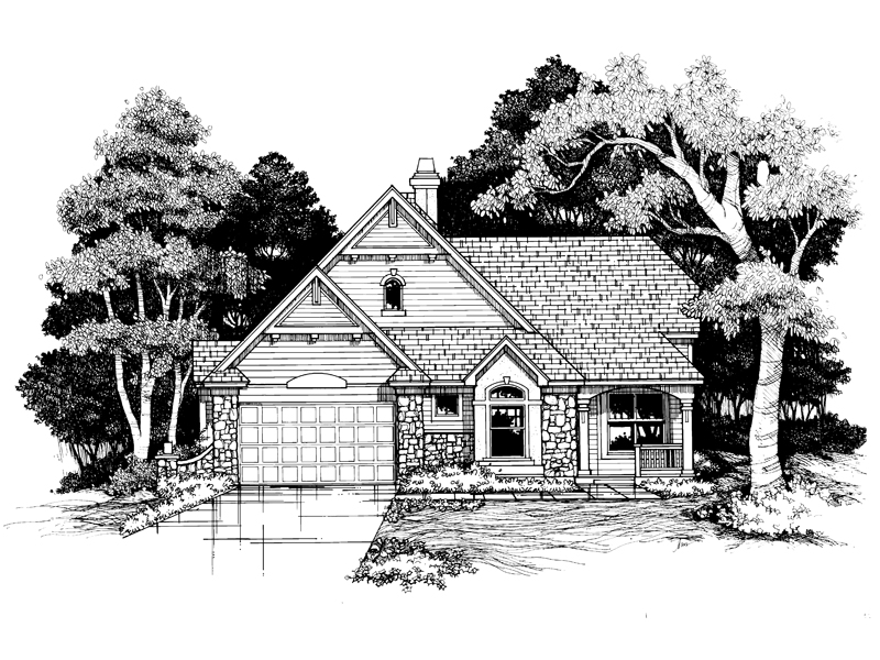 Ranch House Plan Front of Home - 072D-0627 | House Plans and More
