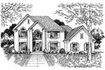 Adobe and Southwestern Plan Front of Home - 072D-0641 | House Plans and More