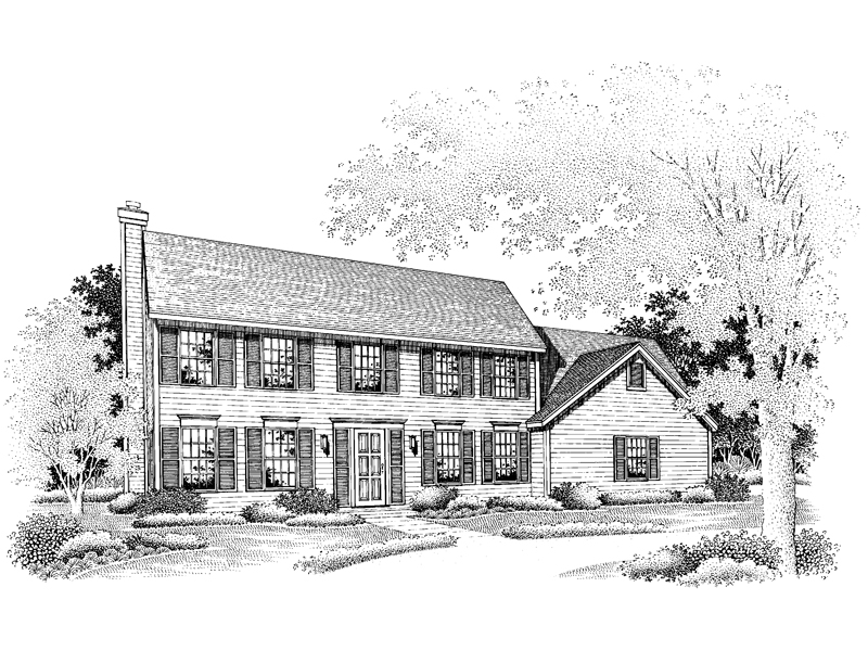 Early American House Plan Front of Home - 072D-0647 | House Plans and More