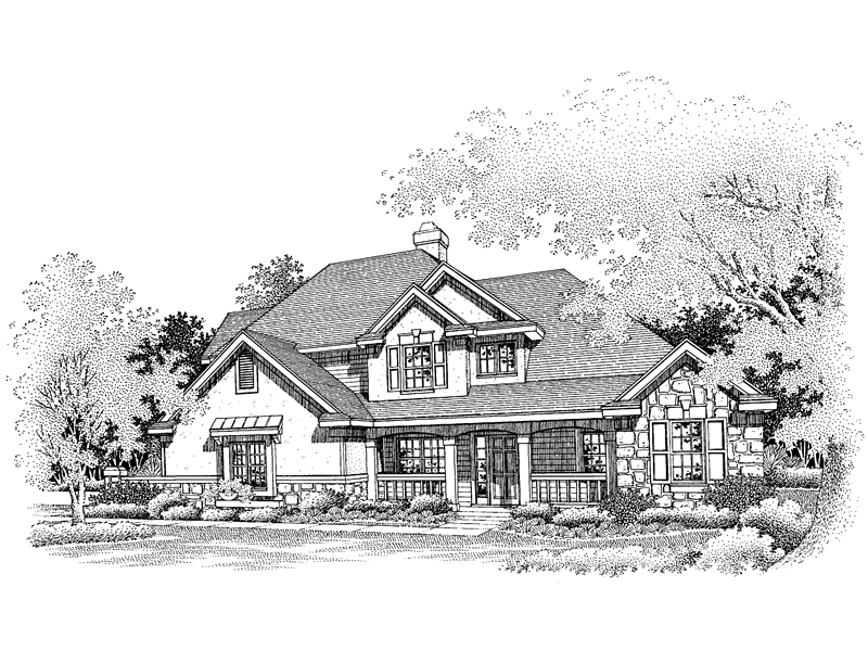 Farmhouse Plan Front of Home - 072D-0648 | House Plans and More