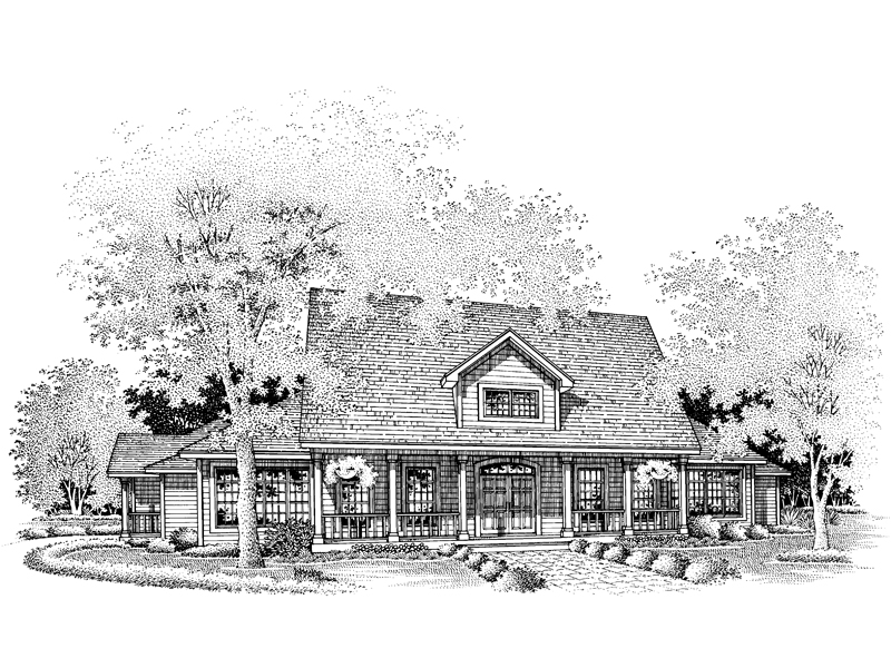Farmhouse Plan Front of Home - 072D-0650 | House Plans and More