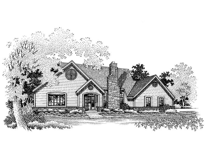 Ranch House Plan Front of Home - 072D-0658 | House Plans and More