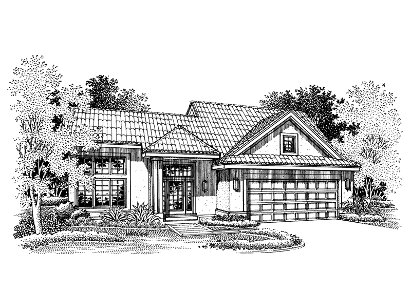 Southwestern House Plan Front of Home - 072D-0661 | House Plans and More