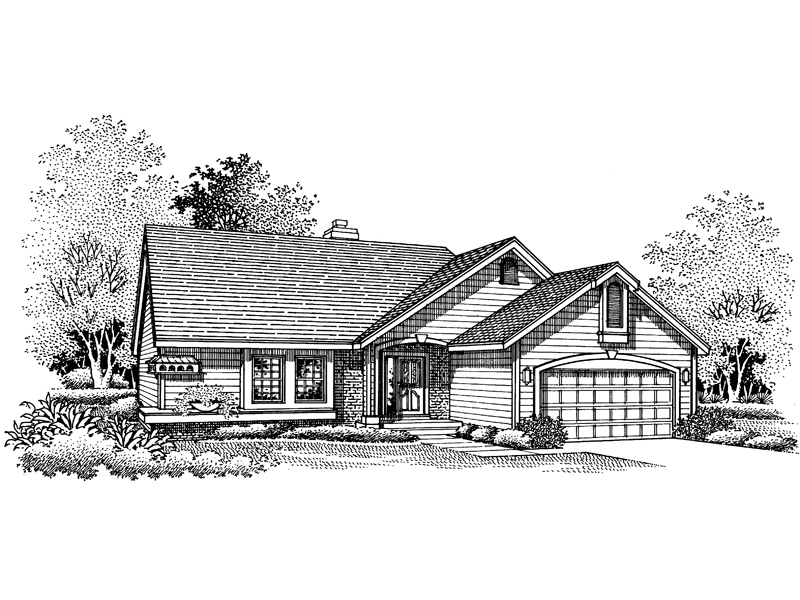 Ranch House Plan Front of Home - 072D-0664 | House Plans and More