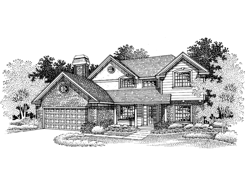 Traditional House Plan Front of Home - 072D-0670 | House Plans and More