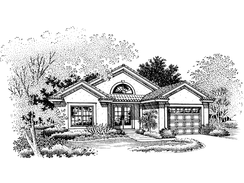 Sunbelt Home Plan Front of Home - 072D-0671 | House Plans and More