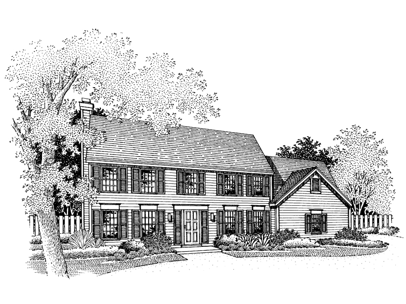 Colonial House Plan Front of Home - 072D-0674 | House Plans and More