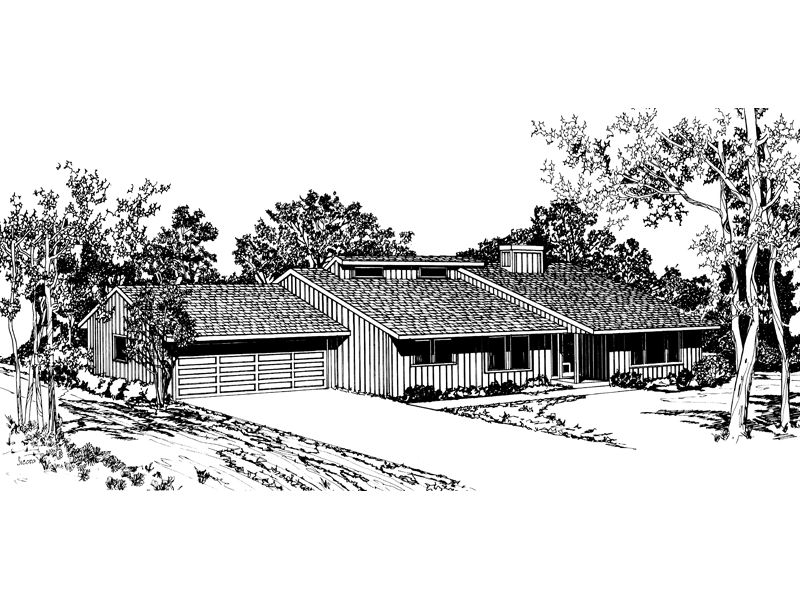 Ranch House Plan Front of Home - 072D-0688 | House Plans and More