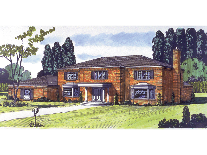Georgian House Plan Front of Home - 072D-0694 | House Plans and More