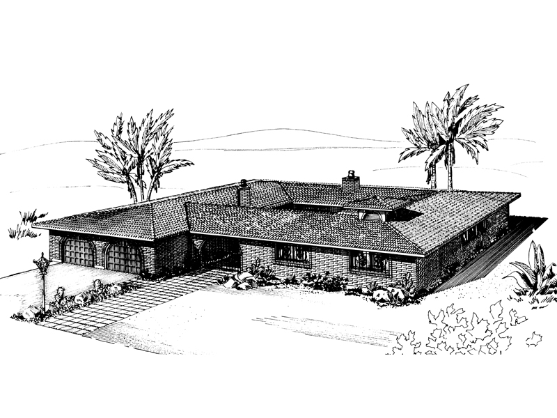 Ranch House Plan Front of Home - 072D-0695 | House Plans and More