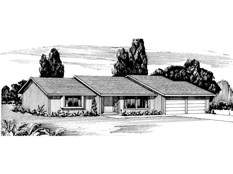 Ranch House Plan Front of Home - 072D-0697 | House Plans and More