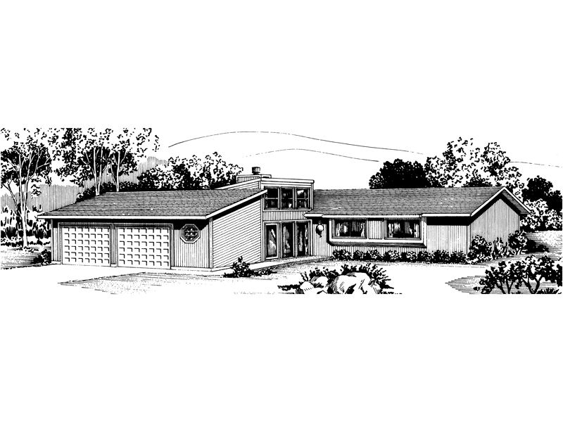 Ranch House Plan Front of Home - 072D-0699 | House Plans and More