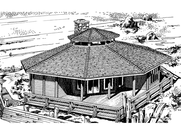 Howardville waterfront home plan 072d 0706 house plans for Octagon shape house plans