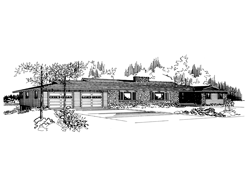 Ranch House Plan Front of Home - 072D-0722 | House Plans and More